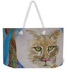 Weekender Tote Bag featuring the painting Spirit Of The Mountain Lion by Ellen Levinson