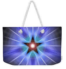 Weekender Tote Bag featuring the drawing Spiritual Pulsar by Derek Gedney