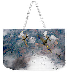 Raf Spitfires Swoop On Heinkels In Battle Of Britain Weekender Tote Bag by Gary Eason