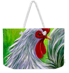 Weekender Tote Bag featuring the painting Splashy Rooster by Sandra Estes