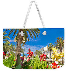 Split Riva Palms And Flowers Weekender Tote Bag by Brch Photography