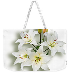 Weekender Tote Bag featuring the photograph Spray Of White Lilies by Jane McIlroy