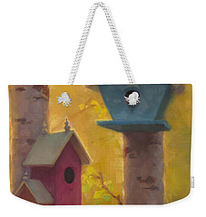 Spring Chickadees 2 - Birdhouse And Birch Forest Weekender Tote Bag by Karen Whitworth