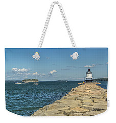 Weekender Tote Bag featuring the photograph Spring Point Ledge Lighthouse by Jane Luxton