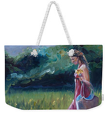 Weekender Tote Bag featuring the painting Spring Stroll by Donna Tuten
