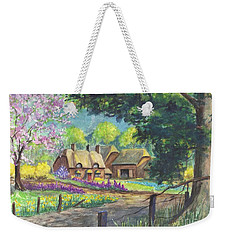 Weekender Tote Bag featuring the painting Springtime Cottage by Carol Wisniewski