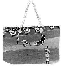Spud Chandler Is Out At Third In The Second Game Of The 1941 Wor Weekender Tote Bag by Underwood Archives