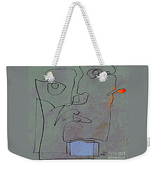 Squigglehead With Blue Scarf And Red Ear  Weekender Tote Bag