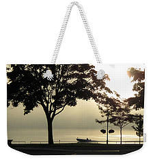 Weekender Tote Bag featuring the photograph St. Clair Sunrise With Fog by Mary Bedy