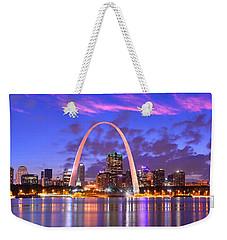 St. Louis Skyline At Dusk Gateway Arch Color Panorama Missouri Weekender Tote Bag