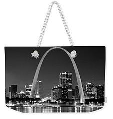 St. Louis Skyline At Night Gateway Arch Black And White Bw Panorama Missouri Weekender Tote Bag