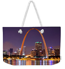 St. Louis Skyline At Night Gateway Arch Color Panorama Missouri Weekender Tote Bag