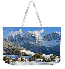 St. Magdalena Village In The Snow In Winter Weekender Tote Bag