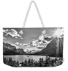 St. Mary Lake Bw Weekender Tote Bag by Aaron Aldrich