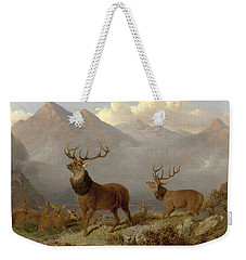 Stags And Hinds In A Highland Landscape Weekender Tote Bag