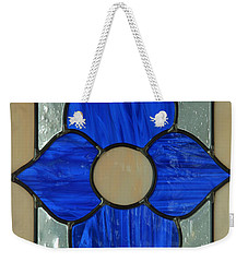Stained Glass In Blue Weekender Tote Bag by E Faithe Lester