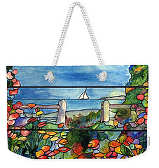 Stained Glass Tiffany Landscape Window With Sailboat Weekender Tote Bag