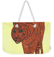Weekender Tote Bag featuring the painting Stalking Tiger by Tracey Williams