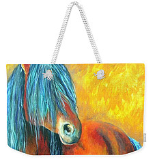 Weekender Tote Bag featuring the painting Stallions Concerto  by Alison Caltrider