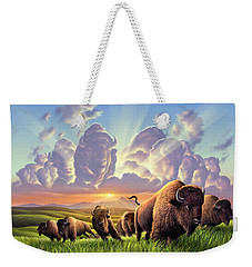 Stampede Weekender Tote Bag by Jerry LoFaro