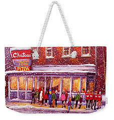 Standing In Line At The Chateau Weekender Tote Bag by Rita Brown