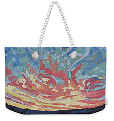 Standing Outside The Fire Weekender Tote Bag