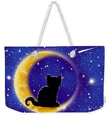Star Gazing Cat Weekender Tote Bag by Nick Gustafson