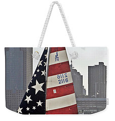 Weekender Tote Bag featuring the photograph Star Spangled Sail  by Lilliana Mendez