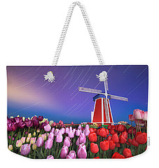 Star Trails Windmill And Tulips Weekender Tote Bag
