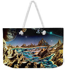 Weekender Tote Bag featuring the painting Star Trek - Orbiting Planet by Michael Rucker