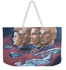 Weekender Tote Bag featuring the painting Star Trek Tribute Captains by Bryan Bustard