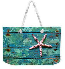 Seashore Peeling Paint - Starfish And Turquoise Weekender Tote Bag