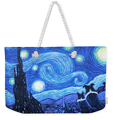 Weekender Tote Bag featuring the painting Starry Night Border Collies by Fran Brooks