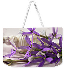 Starshine Laurentia Flowers And White Shell Weekender Tote Bag by Sandra Foster