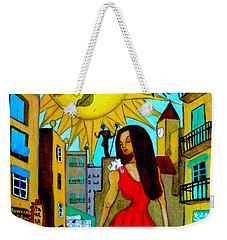 Weekender Tote Bag featuring the painting Starting A New Day by Don Pedro De Gracia