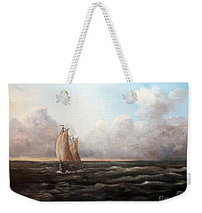 Weekender Tote Bag featuring the painting Staying Ahead Of The Weather by Lee Piper