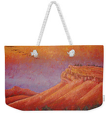 Weekender Tote Bag featuring the painting Steamboat Mountain At Sunrise by Margaret Bobb
