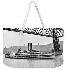 Steamer Albany Under Poughkeepsie Trestle Black And White Weekender Tote Bag
