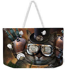Steampunk Cat Weekender Tote Bag by Juli Scalzi