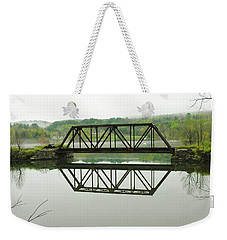Weekender Tote Bag featuring the photograph Vermont Steel Railroad Trestle On A Calm  Misty Morning by Sherman Perry