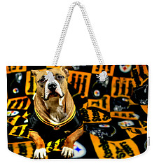 Pitbull Rescue Dog Football Fanatic Weekender Tote Bag
