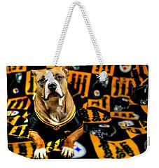 Pitbull Rescue Dog Football Fanatic Weekender Tote Bag by Shelley Neff