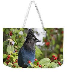 Steller's Jay And Red Berries Weekender Tote Bag