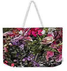 Weekender Tote Bag featuring the digital art Still Life Floral by David Lane