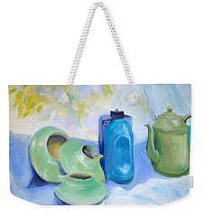 Weekender Tote Bag featuring the painting Still Life In Blue And Green Pottery by Greta Corens
