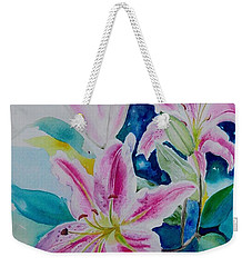 Weekender Tote Bag featuring the painting Still Life Lilies by Geeta Biswas