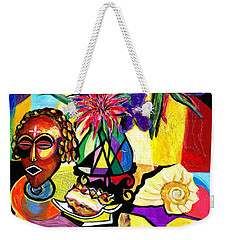 Still Life With Mask-florals And Sea Shell Weekender Tote Bag