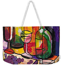 Still Life Of Fruit Wine And Cheese Weekender Tote Bag