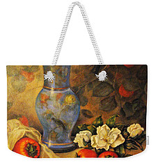 Weekender Tote Bag featuring the painting Still Life Of Persimmons  by Donna Tucker
