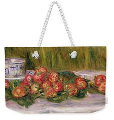 Still Life Of Strawberries And A Tea Cup Weekender Tote Bag by Pierre Auguste Renoir